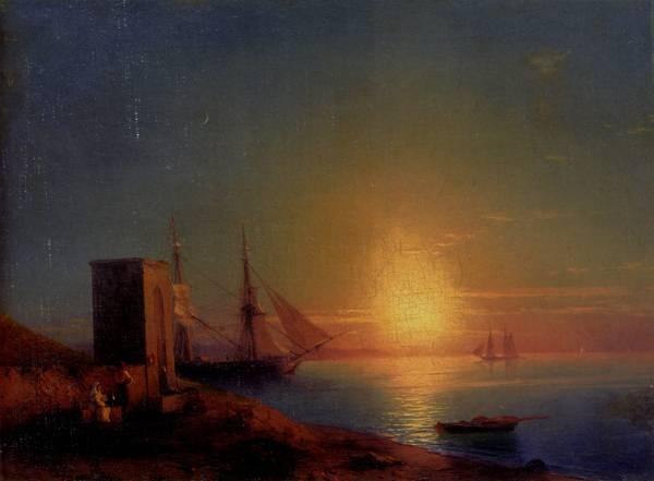 Aivazoffski Ivan Konstantinovich Figures In A Coastal Landscape At Sunset